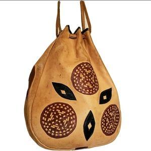 Vintage 60s Moroccan Leather Bag Bohemian Hippie